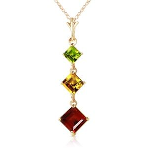 14K. GOLD NECKLACE WITH PERIDOT, CITRINE & GARNET